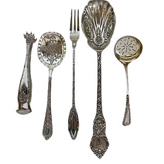 English Arts & Crafts Silver Plate Servers - 5 Pieces
