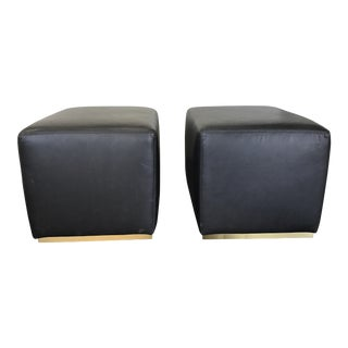 Restoration Hardware Modern Rex Leather Ottomans- A Pair