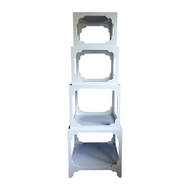 White Lacquered Stacking Cube Tables - Set of 4 - Image 1 of 9