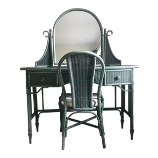 Lane Furniture Co. Rattan Cheval Mirrored Vanity Dressing Table & Chair Set