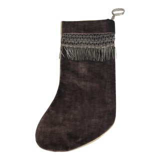 Velvet & Metallic Trim Christmas Stocking