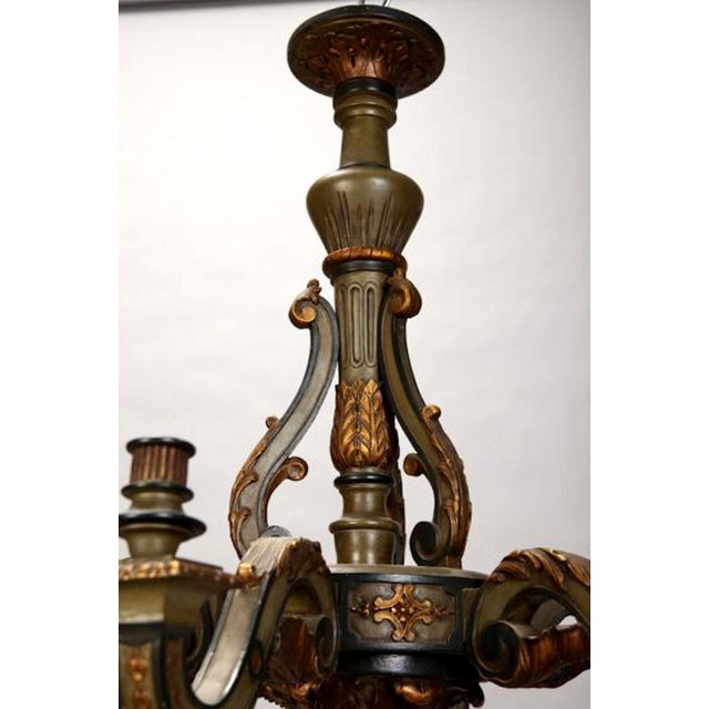 French Carved Wood Painted and Gilded Six-Light Chandelier, 1930's - Image 3 of 5