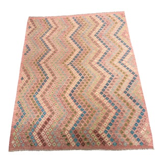 "Wool Diamond Pattern Kilim Rug - 5'10""x7'9"""