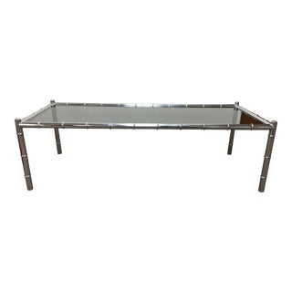 Metal Faux Bamboo Coffee Table With Smoked Glass