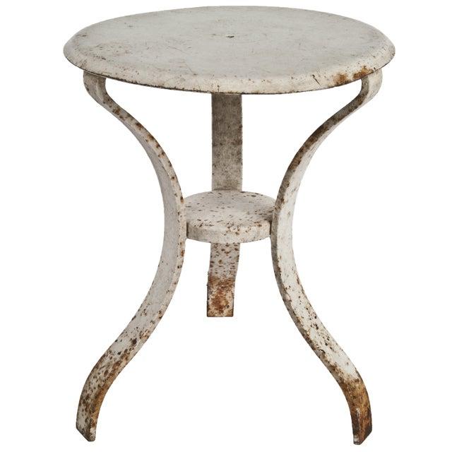 Image of Vintage Distressed White Cast Iron Milking Stool