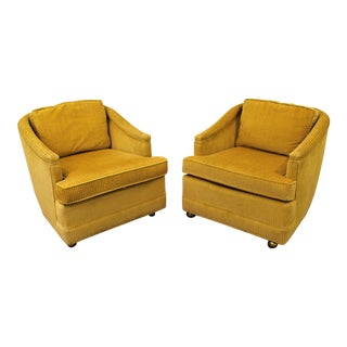 Mid-Century Lolling Club Chairs on Wheels - A Pair