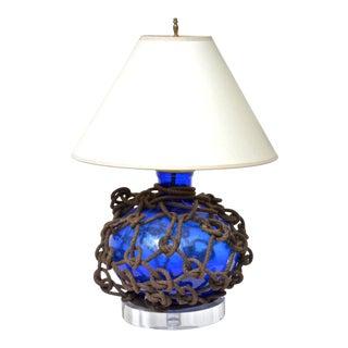 Blue Glass Fish Float Lamp