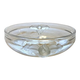 Mid-Century Crystal Frosted Glass Leaf Handle Bowl