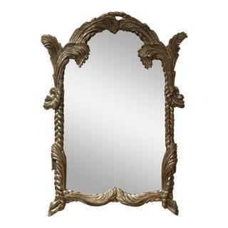 1960's Silver Leaf Carved Wood Mirror
