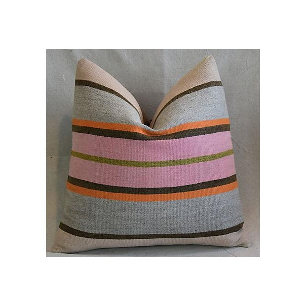 """20"""" Custom Tailored Anatolian Turkish Kilim Wool Feather/Down Pillows - a Pair - Image 4 of 11"""