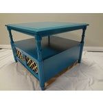 Image of Teal Coffee Table with Lattice Cabinet Doors