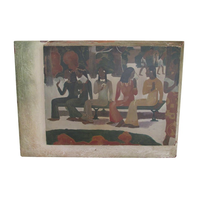 Image of Vintage Gauguin Print in Distressed Art Deco Frame