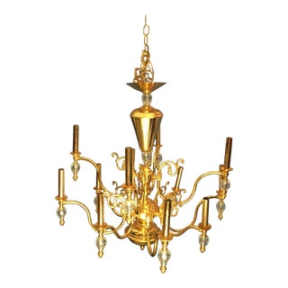 Brass & Crystal Dining Room Chandelier