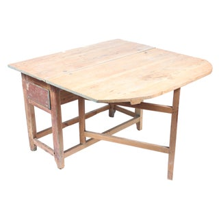 19th Century Swedish Pine Drop Leaf Table