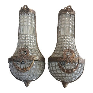 Swedish Style Bow & Garland Crystal Sconces- A Pair