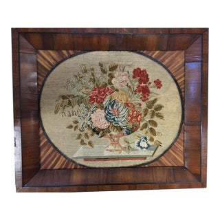 Antique 1830 Framed English Floral Needlework