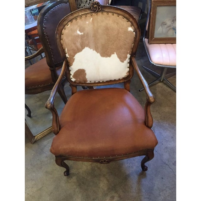 1930s Re-Upholstered Cowhide Leather Chairs - Image 4 of 11