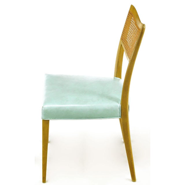 Harvey Probber Tiffany Blue Leather and Mahogany Side Chair - Image 3 of 9