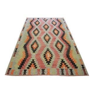 Hand Woven Turkish Vintage Kilim - 5′11″ × 9′4″