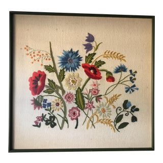 Vintage Framed Embroidered Wall Art