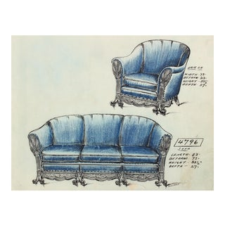 Early 20th Century Blue Sofa Design in Ink and Pastel Drawing