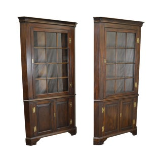 Henkel Harris Solid Mahogany Pair of 12 Pane Corner Cabinets