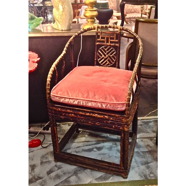 Image of Chinese Chippendale Bamboo Chairs - Pair