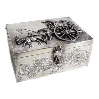 High Relief Figural Silverplate Box