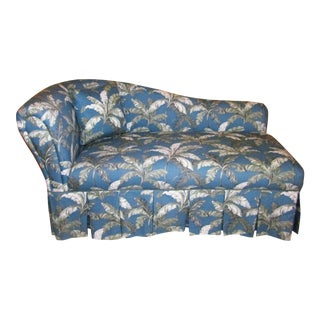 Teal & Palm Frond Fabric Chaise