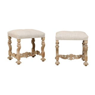 Pair of Italian Carved and Upholstered Foot Stools from the Late 19th Century