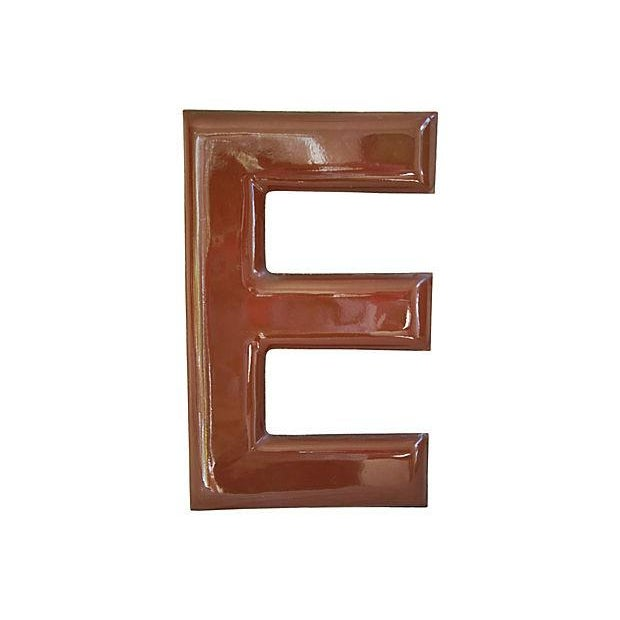 Image of Large 1950s Chocolate Brown Porcelain Letter E