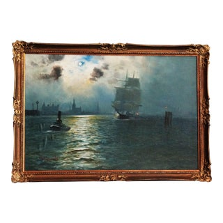 Moonlit River Thames Oil Painting by Alfred S Jensen