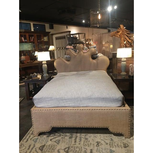 Noir Queen Burlap Bed - Image 3 of 10