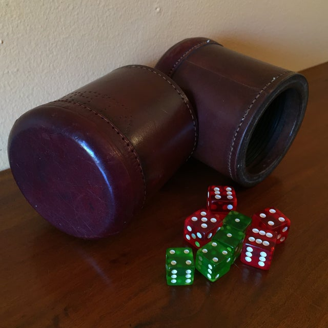 Leather Dice Cups with 8 Bakelite Dice - A Pair - Image 5 of 7