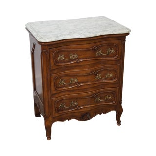 Bodart French Louis XV Style Marble Top Serpentine Walnut Nightstand Chest