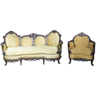 Antique Walnut Carved Settee & Bergere