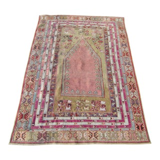 "Antique Anatolian Wool Prayer Rug - 5'7"" X 3'11"""