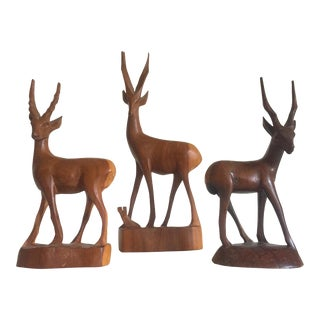 Vintage African Mid-Century Hand Carved Teak Kudu Figures- Set of 3