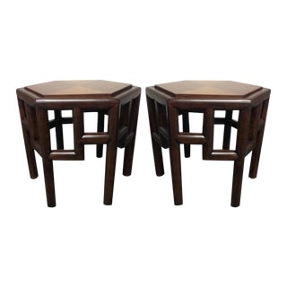 Furniture Vault Hexagonal Bamboo Side Tables - a Pair
