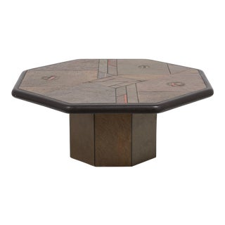 A Brutalist Octagonal Coffee Table by Paul Kingma 1970s