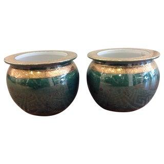 Vintage Chinese Jade Planters - A Pair