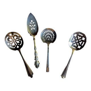Silverplate Pierced Serving Utensils - Set of 5