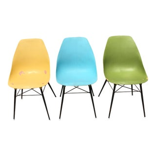 Colorful Molded Plastic Chairs - Set of 3