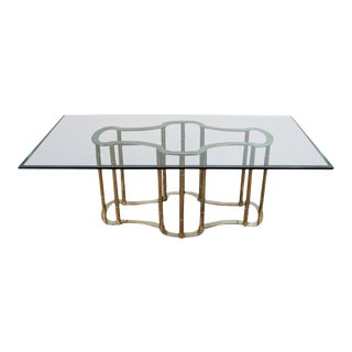 Mastercraft Racetrack Brass & Glass Dining Table