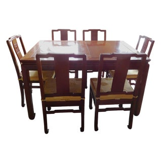 Vintage Chinese Rosewood Dining Set - S/7