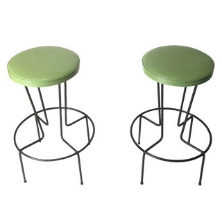 Mid-Century Frederick Weinberg Iron Stools -- A Pair