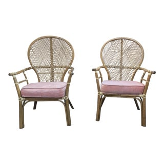 High Back Ficks Reed Rattan Bamboo Chairs - A Pair