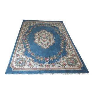 Vintage French Aubusson Floral Area Rug - 8′9″ × 12′