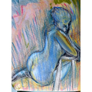 """Blue Woman in Silence"" Original Pastel on Paper"