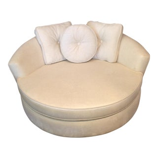 Beige Upholstered Barrel Chair with 3 Pillows